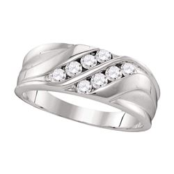 1/2 CTW Mens Round Diamond Wedding Ring 10kt White Gold - REF-45A3N