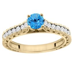 0.86 CTW Swiss Blue Topaz & Diamond Ring 14K Yellow Gold - REF-62W4F
