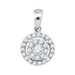1/3 CTW Round Diamond Concentric Circle Frame Cluster Pendant 14kt White Gold - REF-30M3A