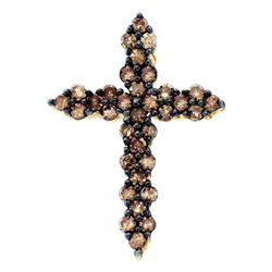 1/2 CTW Round Brown Diamond Cross Pendant 10kt Yellow Gold - REF-16M8A