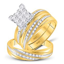 3/4 CTW His & Hers Princess Diamond Cluster Matching Bridal Wedding Ring 10kt Yellow Gold - REF-75F6