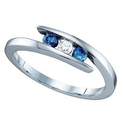 1/4 CTW Round Blue Color Enhanced Diamond 3-stone Ring 10kt White Gold - REF-16X8T