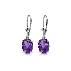 Genuine 6.25 ctw Amethyst Earrings 14KT White Gold - REF-41F2Z