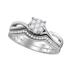 1/3 CTW Round Diamond Twist Bridal Wedding Engagement Ring 10kt White Gold - REF-30A3N