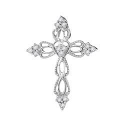 1/6 CTW Round Diamond Heart Cross Religious Pendant 10kt White Gold - REF-9R6H