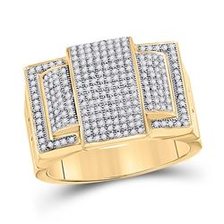 3/4 CTW Mens Round Diamond Cluster Ring 10kt Yellow Gold - REF-57Y5X