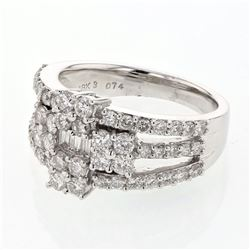 1.56 CTW Diamond Ring 18K White Gold - REF-172R2K