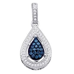 1/5 CTW Round Blue Color Enhanced Diamond Teardrop Cluster Pendant 10kt White Gold - REF-13A2N