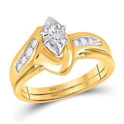 1/4 CTW Marquise Diamond Bridal Wedding Engagement Ring 10kt Yellow Gold - REF-30F3M