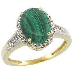 2.60 CTW Malachite & Diamond Ring 14K Yellow Gold - REF-52K7W