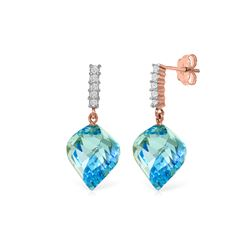 Genuine 27.95 ctw Blue Topaz & Diamond Earrings 14KT Rose Gold - REF-87X5M