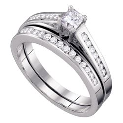1/2 CTW Princess Diamond Bridal Wedding Engagement Ring 10kt White Gold - REF-39Y5X