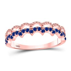 1/4 CTW Round Blue Sapphire Scalloped Stackable Ring 10kt Rose Gold - REF-13Y2X