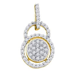 1/5 CTW Round Diamond Circle Frame Cluster Pendant 10kt Yellow Gold - REF-11H9W