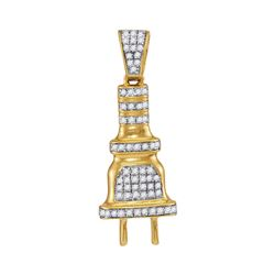 1/5 CTW Mens Round Diamond Power Plug Charm Pendant 10kt Yellow Gold - REF-14X4T