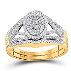 3/8 CTW Round Diamond Bridal Wedding Engagement Ring 10kt Yellow Gold - REF-30N3Y