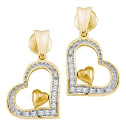 1/10 CTW Round Diamond Heart Dangle Screwback Stud Earrings 10kt Yellow Gold - REF-10R8H
