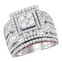 2 & 1/2 CTW Round Diamond Bridal Wedding Engagement Ring 14kt Two-tone Gold - REF-179F9M