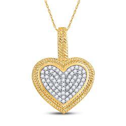 1/6 CTW Round Diamond Heart Milgrain Pendant 10kt Yellow Gold - REF-14T4K