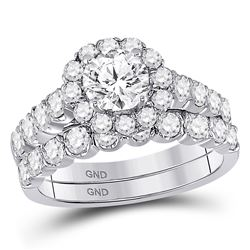 2 CTW Round Diamond Bridal Wedding Engagement Ring 14kt White Gold - REF-287N8Y