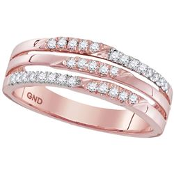 1/5 CTW Round Diamond 3-row Ring 10kt Rose Gold - REF-24M3A