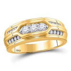 1/2 CTW Mens Round Diamond Wedding Ring 14kt Yellow Gold - REF-65N9Y