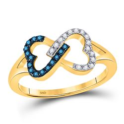 1/6 CTW Round Blue Color Enhanced Diamond Heart Ring 10kt Yellow Gold - REF-11T9K