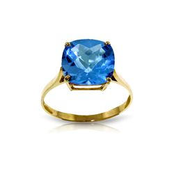 Genuine 3.6 ctw Blue Topaz Ring 14KT Yellow Gold - REF-34P7H