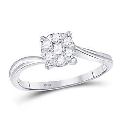 1/3 CTW Round Diamond Flower Cluster Ring 10kt White Gold - REF-24N3Y