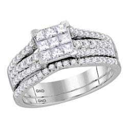 1 CTW Princess Diamond Cluster Bridal Wedding Engagement Ring 14kt White Gold - REF-65R9H
