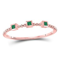 0.03 CTW Princess Emerald Beaded 3-stone Stackable Ring 10kt Rose Gold - REF-5X9T