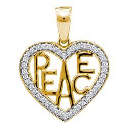 1/6 CTW Round Diamond Peace Heart Pendant 10kt Two-tone Gold - REF-14X4T