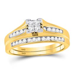 1/2 CTW Princess Diamond Bridal Wedding Engagement Ring 10kt Yellow Gold - REF-34M8A