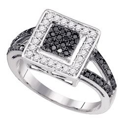 1/2 CTW Round Black Color Enhanced Diamond Square Cluster Ring 10kt White Gold - REF-30M3A