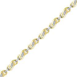 1/4 CTW Round Diamond Fashion Link Bracelet 10kt Yellow Gold - REF-45R3H