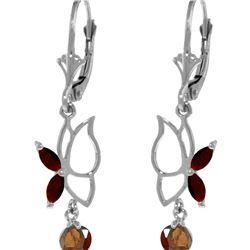 Genuine 0.80 ctw Garnet Earrings 14KT White Gold - REF-38H2X