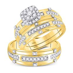 3/4 CTW His & Hers Round Diamond Solitaire Matching Bridal Wedding Ring 14kt Yellow Gold - REF-93T3K