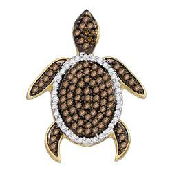 3/8 CTW Round Brown Diamond Sea Turtle Animal Pendant 10kt White Gold - REF-15M5A