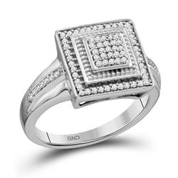 1/5 CTW Round Diamond Square Frame Cluster Ring 10kt White Gold - REF-27N5Y
