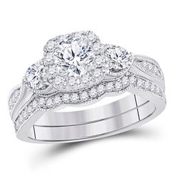 1 CTW Round Diamond Bridal Wedding Engagement Ring 14kt White Gold - REF-165Y3X