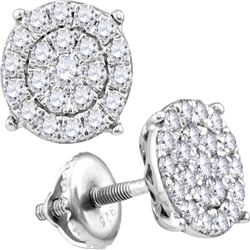 2 CTW Round Diamond Cindys Dream Concentric Cluster Stud Earrings 10kt White Gold - REF-120K3R