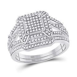 1/2 CTW Diamond Cluster Bridal Wedding Engagement Ring 10kt White Gold - REF-35T9K