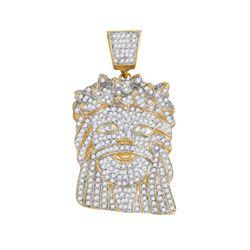 1 & 3/4 CTW Mens Round Diamond Jesus Face Charm Pendant 10kt Yellow Gold - REF-93N5Y
