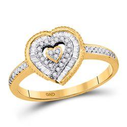 1/4 CTW Round Diamond Heart Ring 10kt Yellow Gold - REF-21H5W