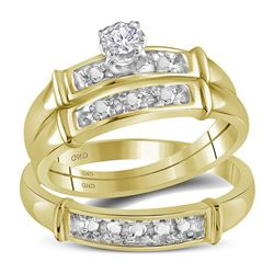 1/10 CTW His & Hers Round Diamond Solitaire Matching Bridal Wedding Ring 10kt Yellow Gold - REF-28W8