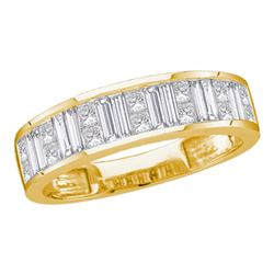 1/2 CTW Princess Baguette Channel-set Diamond Wedding Ring 14kt Yellow Gold - REF-54W3F