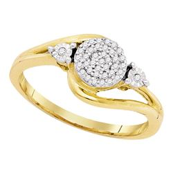 1/10 CTW Round Diamond Concentric Cluster Ring 10kt Yellow Gold - REF-13M2A