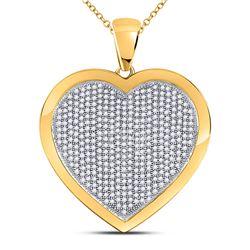 1 CTW Round Diamond Heart Pendant 10kt Yellow Gold - REF-65X9T