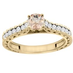 0.74 CTW Morganite & Diamond Ring 14K Yellow Gold - REF-63W8F