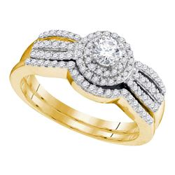 1/2 CTW Round Diamond Bridal Wedding Engagement Ring 10kt Yellow Gold - REF-41K9R
